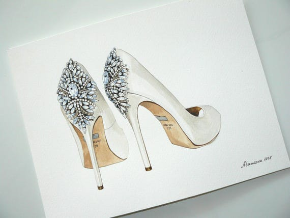 Bridal shoes painting Custom wedding shoes Original watercolor painting Shoe Art Fashion illustration Bride to be Gift for her Wedding gift