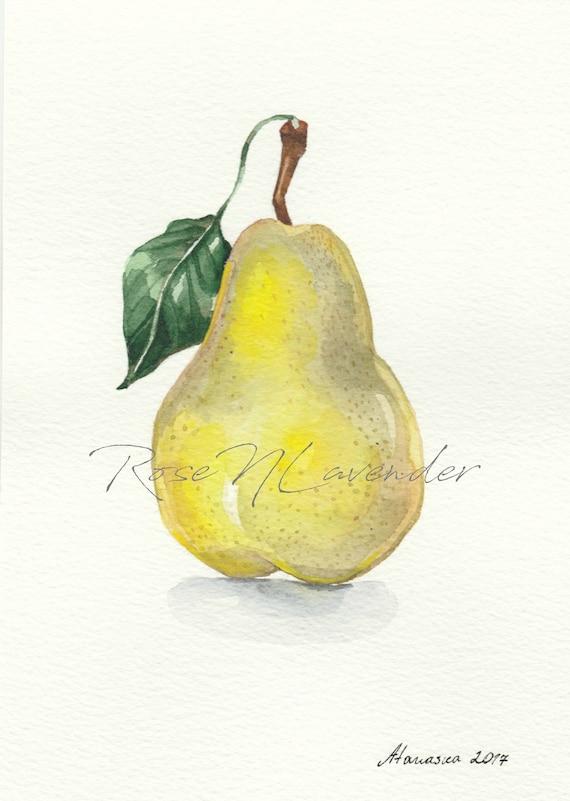 Pear Painting Pear Watercolor Print 5x7 Nursery Fruit Print 5x5 Fruit Wall Art