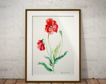 Poppy Flower Painting Original Watercolor Red Poppies Poppy watercolor Watercolor Flower Painting Gift Poppy Painting Botanical illustartion
