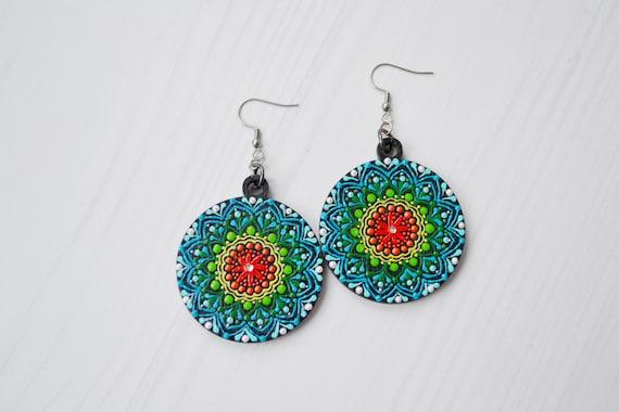 Hand Painted Wood Earrings Bohemian Statement Earrings Hippie earrings Dangle Earrings Hypoallergenic