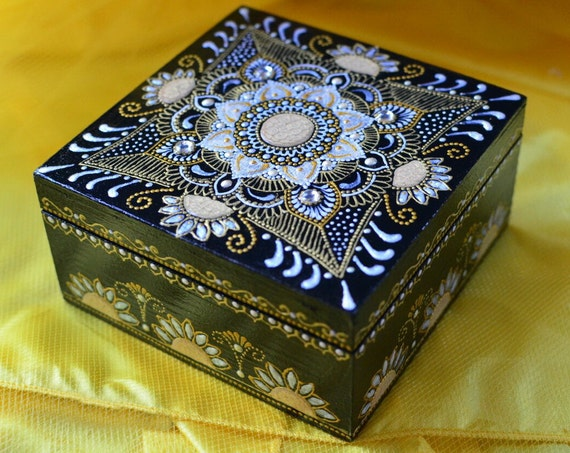 Women Gift Jewelry Box Jewelry Storage Wooden Box Painted Square Box Girl Gift Idea Henna Decor Gift For Her Trinket Box