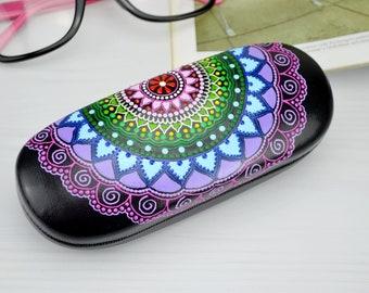 Hard glasses case , Colorful rainbow mandala , Hand painted Eyeglass case , Glasses holder , Eyeglasses case , Meditation art , Yoga gifts