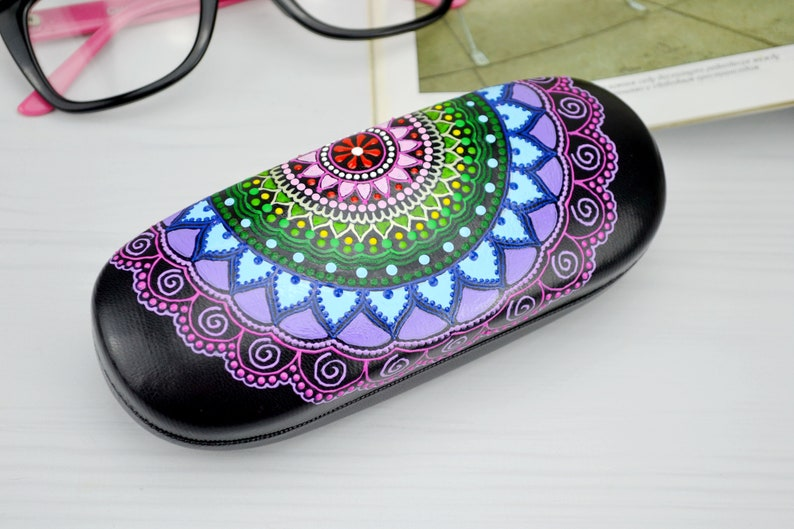 Hard glasses case  Colorful rainbow mandala  Hand painted image 0