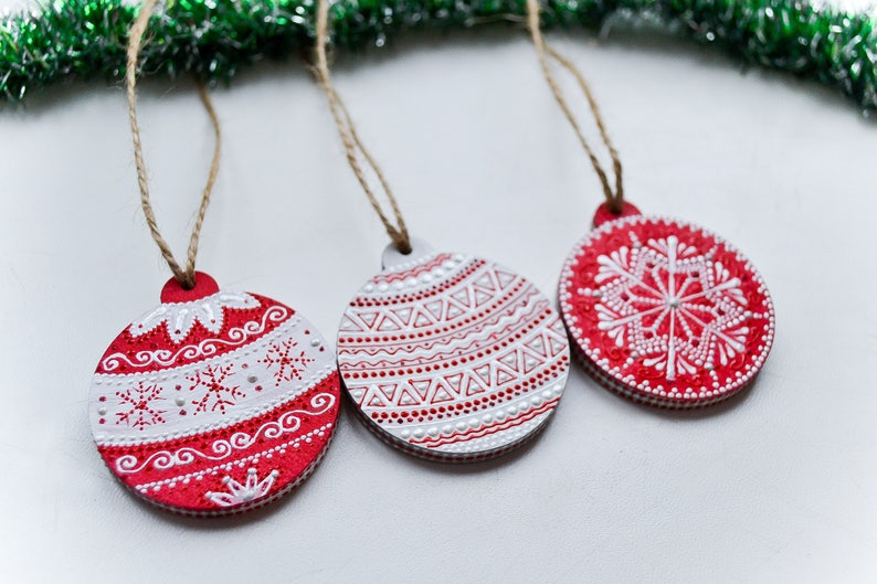 Set Of 3 Christmas Ornament Wooden Hand Painted Christmas Etsy