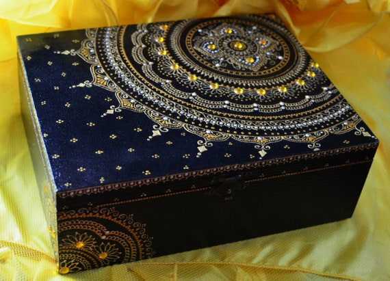 wooden box Dot painting wooden box Dot Mandala jewelry box handmade jewelry box jewelry keepsake Mandala dot painting