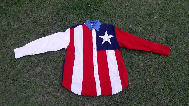 ed2c68bd TOMMY HILFIGER JEANS Original Vintage Flag Shirt from the   Etsy