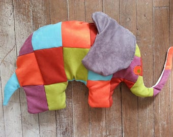 Padded suede patchwork elephant pillow