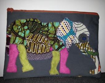 Bag 20x30cm wax patchwork elephant