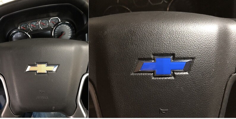 Steering Wheel Bowtie Overlay Decal - Chevrolet Silverado/Tahoe fitment   2014-2018 Many Colors!