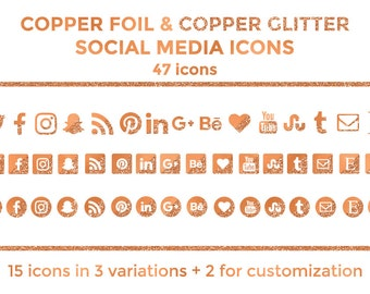 Copper Social Media Icons Buttons Website Icons Copper Foil Glitter Blog Icons Copper Social Media Icons Graphics Twitter