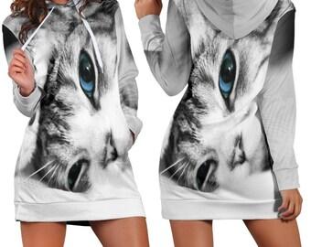 38410190db Kitten Women s Hoodie Dress