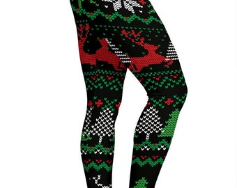 b005f0ad546d22 Ugly Christmas Red Green Black Leggings