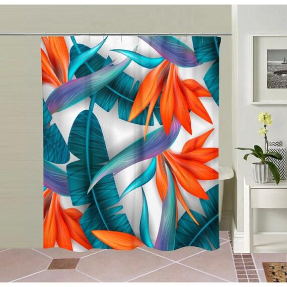 Feather Orange Flowers Shower Curtain Tastefully Designed