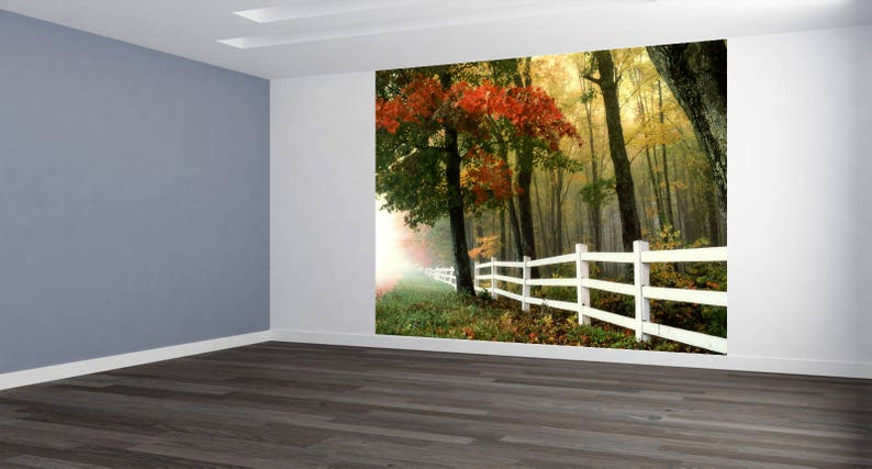 Wall Art White Fence Landscape Photo Wallpaper HUGE Peel and Stick