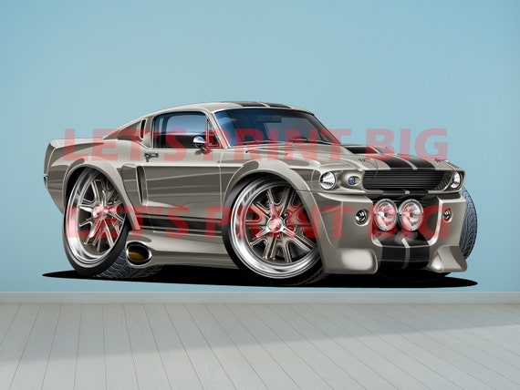 1967 Shelby Gt500 Eleanor >> 1967 Shelby Mustang Gt500 Eleanor Cartoon Wall Decal