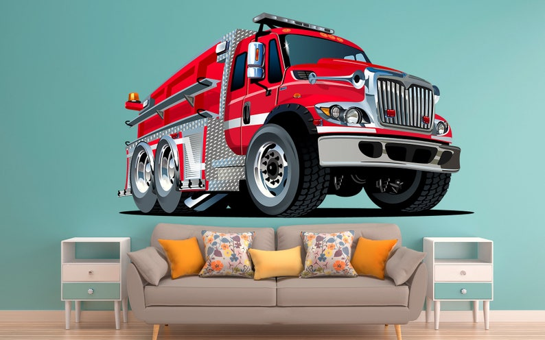 Fire Truck Hot Rod Muscle Car Wall Decal Removeable Repositionable