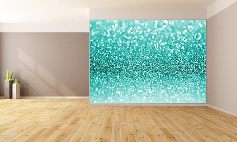 Blue Glitter Custom Wallpaper Peel and Stick