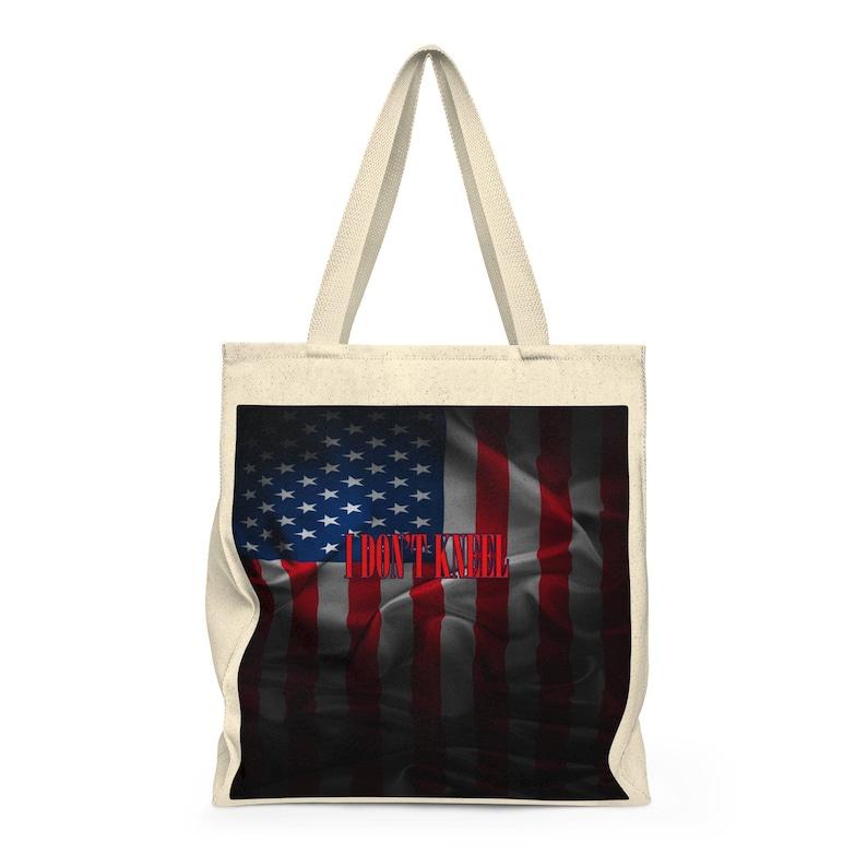 Roomy American Flag Dark I Don/'t Kneel Shoulder Tote Bag