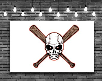 Baseball Skull Head Bats Wall Decal Removeable Repositionable