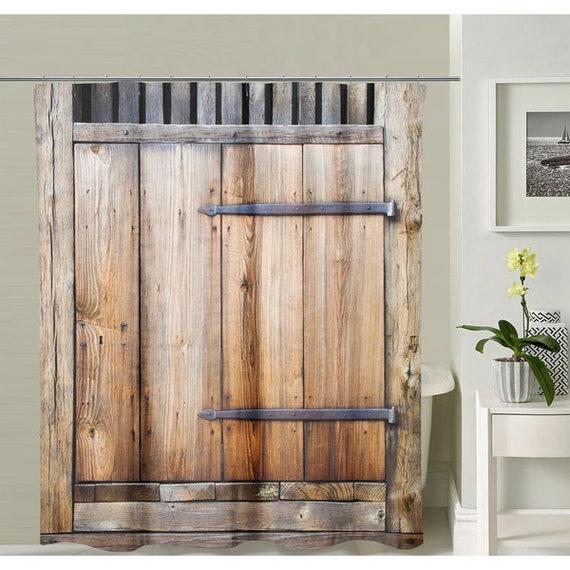 Brown Barn Door Shower Curtain Tastefully Designed Polyester