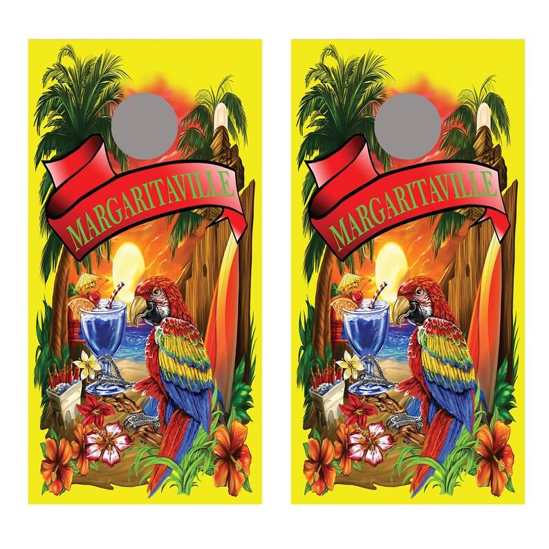 Margaritaville Yellow Cornhole Board Decal Wraps