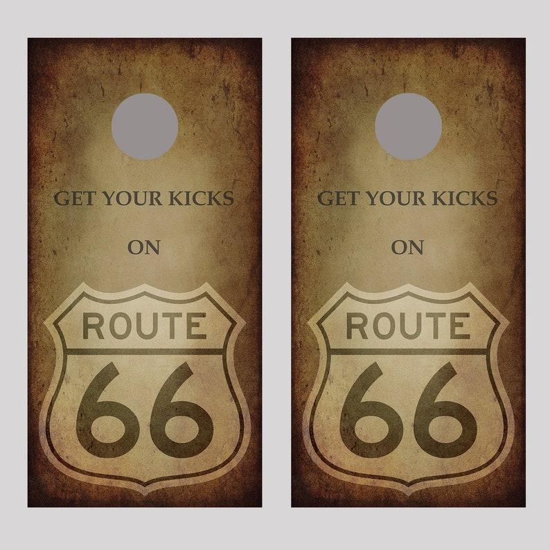 Route 66 Get Your Kicks Cornhole Board Decal Wraps
