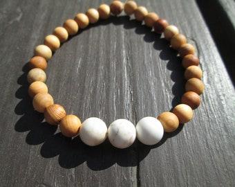 Howlite and Wood Beaded Elastic Bracelet