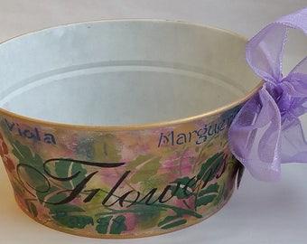 "Round Metal Tub Planter ""RENOIR"" from Springtime in Paris collection"