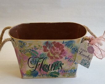 """Tall Metal Planter """"FANFAN LA TULIPE - peony"""" from Springtime in Paris collection"""