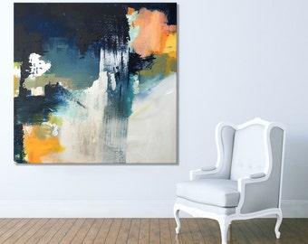Print on Canvas, Giclée print, Modern art, Abstract Art, large wall art,Blue, Orange, White, Sunset, Abstract art - Wall art, Canvas Print