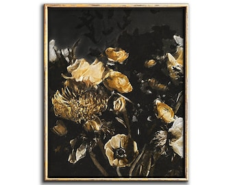Moody Floral Art Downloadable Prints, Dark Botanical Flower Art Print Digital Download, Feminine Wall Art Boho Chic Decor Printable