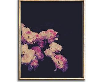Moody Floral Art Print Digital Download, Dark Botanical Poster Downloadable Prints, Boho Chic Decor Pink Printable Art Feminine Wall Art