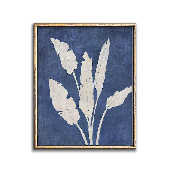 Banana Leaf Print Downloadable Art, Tropical Decor Printable Artwork, Tropical Leaf Print Digital Download, Indigo Wall Art Print, Blue Art