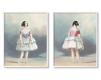 Vintage Nursery Art, Downloadable Prints, Vintage Ballerina, Vintage Nursery Girl, Nursery Printable, Print Set of 2, Printable Wall Art