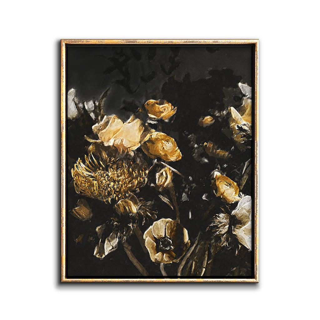 Moody Floral Print Dark Floral Print Yellow Flower Art Etsy