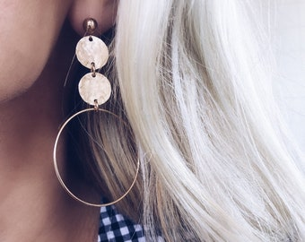 Gold Fill Sterling Duo Hammered Coin Hoops Earrings Bride Bridesmaid Wedding Gifts Jewelry