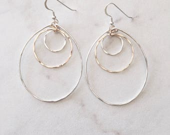 Two Tone Layered Circle Sterling & Gold Fill Earrings Hoops