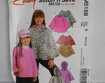Easy Stitch 'n Save Girl's Poncho Pattern by McCalls #M5158