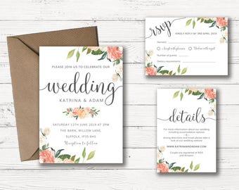 wedding invitation printable floral wedding invitation set wedding invitation template wedding invitation suite wedding invitations
