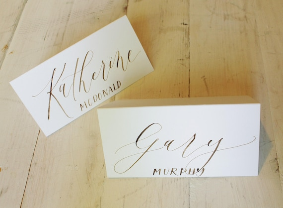 calligraphy place cards white paper with walnut ink etsy rh etsy com