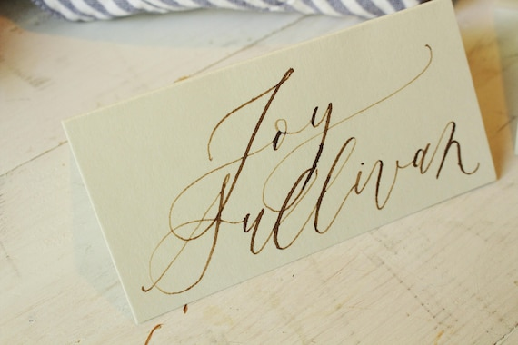 calligraphy place cards cream paper with walnut ink etsy rh etsy com