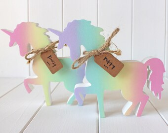 Sweet Hand Painted Rainbow Shimmer Wooden Unicorn