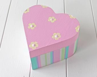 Sweet Hand Painted Striped & Floral Jewellery Trinket Keepsake Box