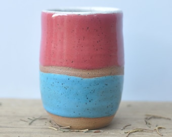 Red And Blue Tumbler  - Small Tumbler - Handmade Pottery - Tumblers - Wheel-Thrown Pottery