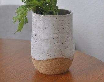 White Speckled Vase 2 - Pottery Vases - Handmade Vases - Ceramic Vases
