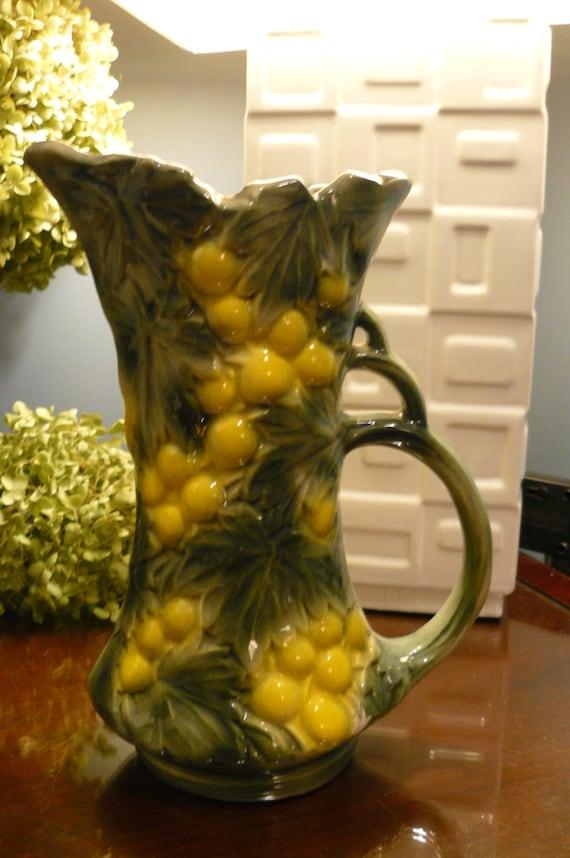 Mccoy Grape And Leaves Pitcher Sample Glaze Wet Etsy