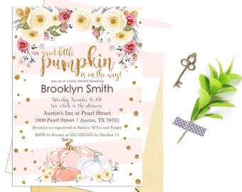 Pink and Gold Pumpkin Baby Shower Invitation, Fall Baby Shower Invite, Autumn Girl Baby Shower Printable Customizable Digital File