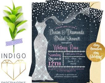denim and diamonds bridal shower invitation blue jean bling sequin dress bridal shower glitter sparkle printable bridal shower invitation