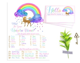 What's Your Unicorn Name Game, Printable Rainbow Unicorn Party Game, Rainbow Birthday Decoration, Unicorn Party Avery 8395 Instant Download