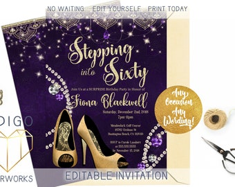 16Th Claret /& White Bling Sparkle Birthday Party Personalised Invitations